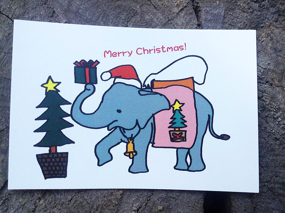 ぞうさんのクリスマスカード1